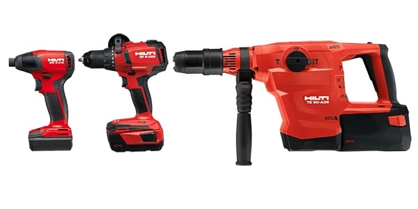 Hilti batteries for 12 V, 22 V and 36 V cordless platforms