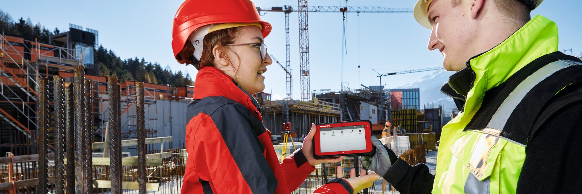 Hilti advanced layout solution (total station) in use at the jobsite