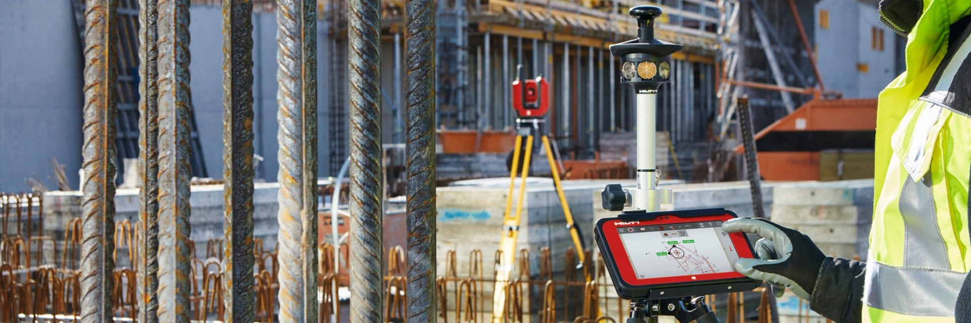 Hilti layout tools and total stations for construction sites